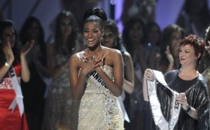 "Photo of Lelia Lopes of Angola hearing she won ""Miss Universe."""
