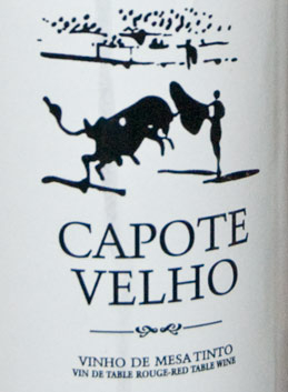 a portuguese wine label with a spanish bullfighter!