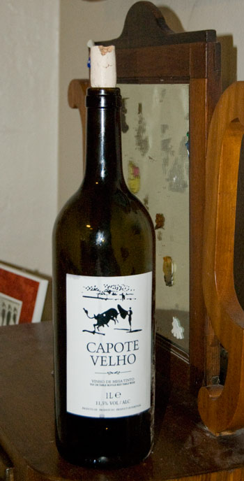 Bottle of Portuguese wine with a SPANISH bullfighter!