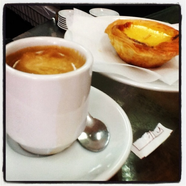 A bica and a pastel de nata.  So perfect!!